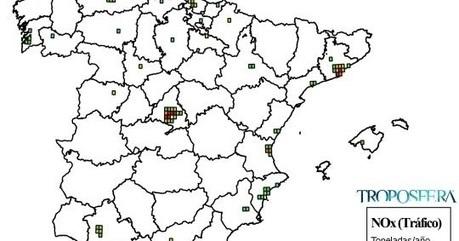 Troposfera.org || Blog: España: Mapa de emisiones de NOx de Tráfico (Inventario EMEP 2013) | CTMA | Scoop.it