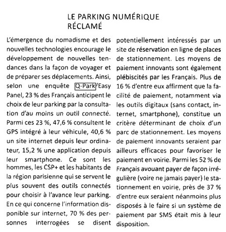 Le Courrier de la Monétique   Grande enquête Q-Park Les Français et le stationnement   Scoop.it