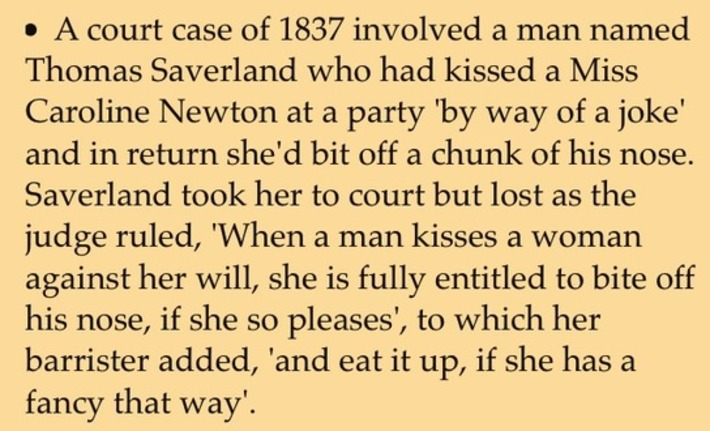 Court case from 1837, involving an unwanted kiss & a bitten nose | Herstory | Scoop.it