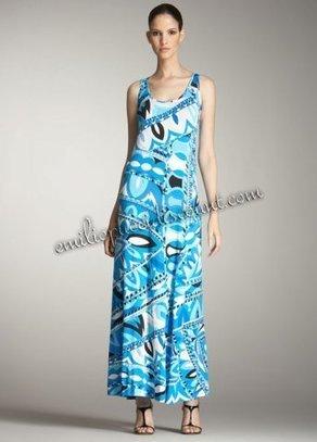 EMILIO PUCCI Blue Print Tank Maxi Dress On Sale [Print Tank Long Dress] - $205.99 : Emilio pucci dresses online outlet,discount pucci dresses on sale! | chic items | Scoop.it