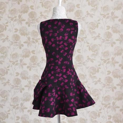 Black Print V-neck Bow Knot Slim Woolen Tank Dress   Dressve fashion   Scoop.it