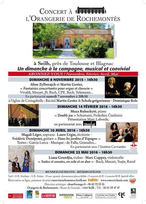 SAISON 2015 - 2016 de Concert à l'Orangerie de Rochemontès, à Seilh, près de Toulouse | FOLLE de MUSIQUE | Scoop.it