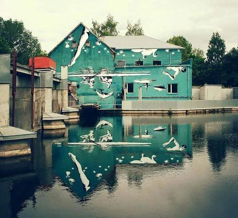 ¡Genial! Pintó el mural al revés para poder verlo derecho en el agua (Fotos) | I didn't know it was impossible.. and I did it :-) - No sabia que era imposible.. y lo hice :-) | Scoop.it