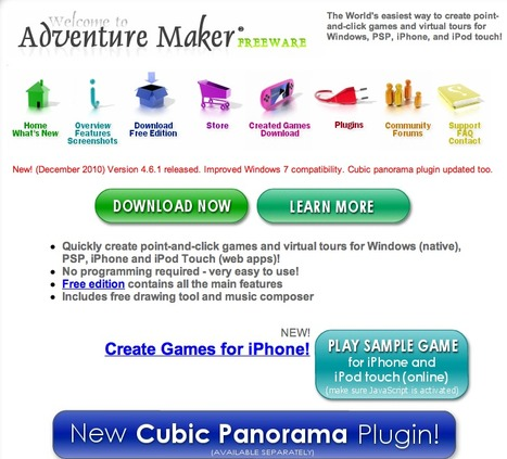 Adventure Maker (freeware) - Create games for Windows, PSP, iPhone, and iPod touch without writing a line of code | Teaching & Learning Resources | Scoop.it