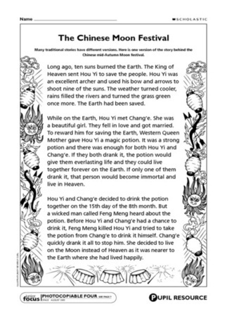 Chinese moon festival – story – Primary KS2 teaching resource - Scholastic | Year 3 History: Moon Festival | Scoop.it