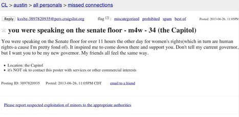 Awesome Craigslist Missed Connection Seeks Wendy Davis After Texas Filibuster - Huffington Post (satire) | Selling on Craigslist | Scoop.it