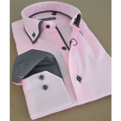 Shop for Slim Pink Mens Shirt | Grey Buttons | Double Collar | lining and inside collar | Australia | New Zealand. | Style Up This Easter | Scoop.it