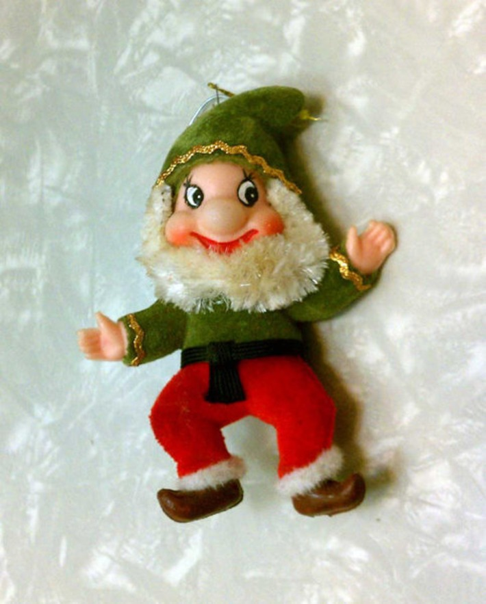Vintage Retro Mid Century Modern Green & Red Kitschy Flocked Elf Ornament Dwarf Disney-esque | Antiques & Vintage Collectibles | Scoop.it