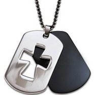 Stainless Steel Two-piece Laser Cutout Cross Dog Tag Necklace | Crosses | Scoop.it