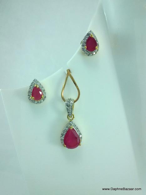 Ruby AD set pendant and earrings | Kundan Jewelry | Scoop.it