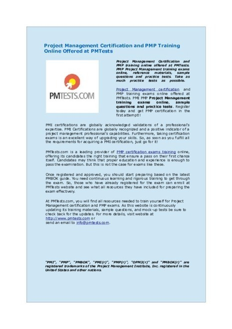 PMI PMP Project Management certification training exams online   PMTests   Scoop.it