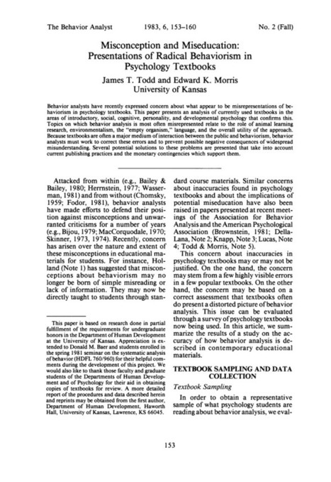 Misconception and miseducation: Presentations of radical behaviorism in psychology textbooks | learning to teach.... | Scoop.it