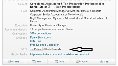 Add a Twitter Follow Button to Your LinkedIn Profile | Time to Learn | Scoop.it