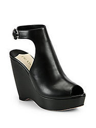 Prada - Leather Ankle-Strap Wedge Sandals - Saks Fifth Avenue Mobile | fashion pants | Scoop.it