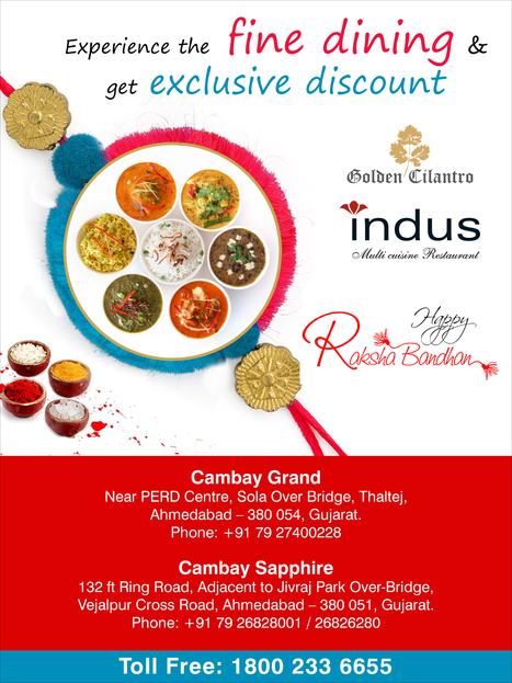 Enjoy your #Raksha #Bandhan with #Cambay and experience the# dining & get Exclusive #Discount at Golden Cilantro & Indus. | Cambay Hotels & Resorts | Scoop.it