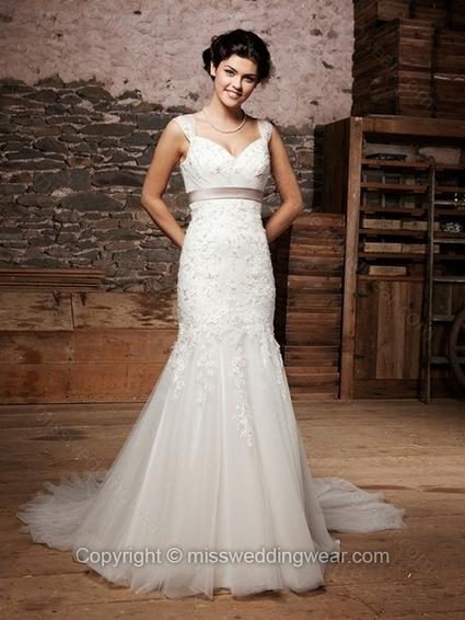 Trumpet/Mermaid Straps Tulle Satin Chapel Train Ivory Appliques Wedding Dresses   2014 wedding dress online   Scoop.it