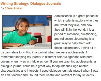 TESOL Connections - June 2012 Dialogue Journals   Resources for Teaching L2 Writing   Scoop.it