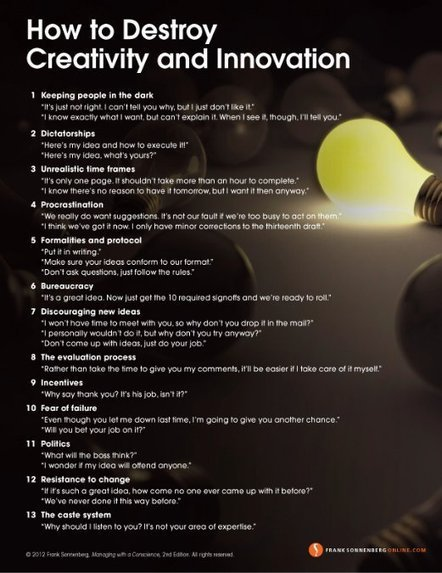 13 Ways to Destroy Creativity and Innovation | digitalization | Scoop.it