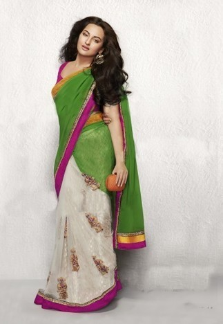 White And Green Net With Georgette Saree With Blouse USH336 - Sarees | Desi Butik | Online Sarees shopping Store in India | Scoop.it