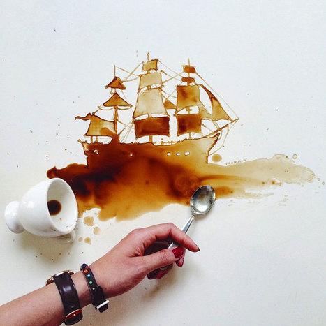 Gulia réalise de sublimes oeuvres d'art avec de simples gouttes de café | Instantanés | Scoop.it