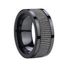 8MM Stainless Steel Inlay Black Ceramic wedding Band ring - Tungstenjewellry.com | I Love Tungsten Wedding Bands | Scoop.it