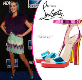 Celebrity In Christian Louboutin : Katy Perry in Christian Louboutin Echasse Sandals Colorful | Amazing Hello Kitty Bags | Scoop.it