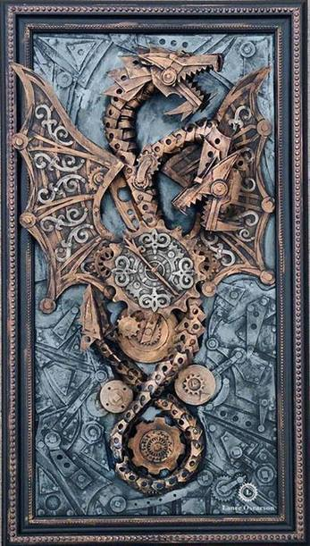 Two-headed dragon time keeper - Vintedge artworks - Lance Oscarso #Cardboard #Sculpture #Dragon #Steampunk | Graphisme & Illustration | Scoop.it