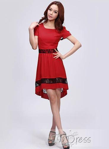 $ 43.69 Unique New Summer Slim Round Neckline Puff Sleeve Lace Dress | Fashion lady | Scoop.it