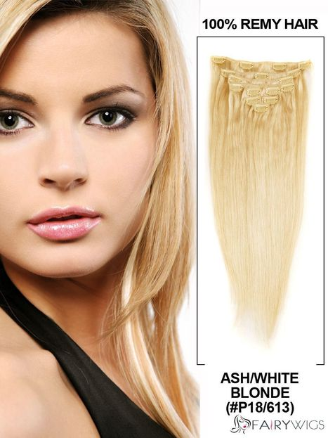 """12""""-30"""" 7 Piece Silky Straight Clip In Indian Remy Human Hair Extension - Ash/White Blonde : fairywigs.com 