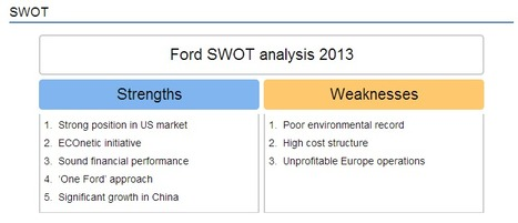 Ford Motor Company Swot Analysis 2013 Strateg