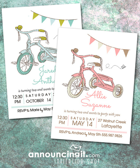 Kids Tricycle Birthday Party Invitations | Party Invitations | Scoop.it