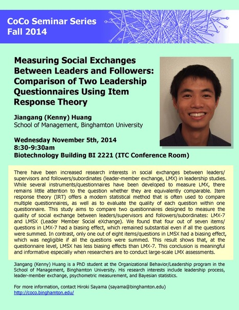 "Next CoCo seminar on Wed. Nov. 5th by Jiangang Huang: ""Measuring Social Exchanges Between Leaders and Followers"" 