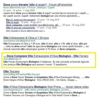 √ Olio Extravergine Biologico bassa acidità - Olio Ferraro ← | Comunikafood - marketing food 2.0 | Scoop.it