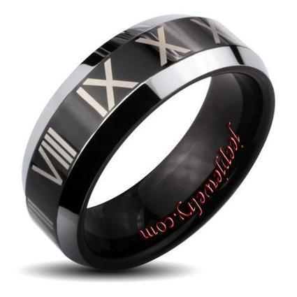 Wholesale Tungsten Carbide Black Center Roman Numeral and Beveled Edge Ring - $ 7.90 : Tungsten Jewelry | How to choose an ideal jewelry for your lover | Scoop.it