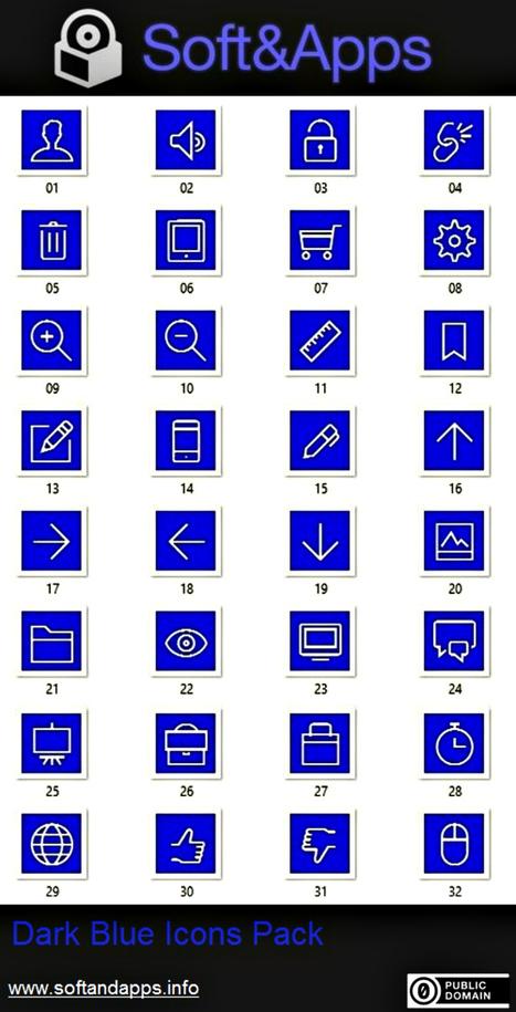 Dark Blue Icons Pack: iconos variados y libres en tono azul oscuro | Con visión pedagógica: Recursos para el profesorado. | Scoop.it