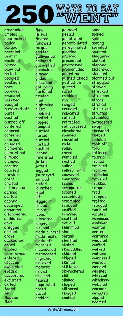 "250 Ways to Say ""Went"" 