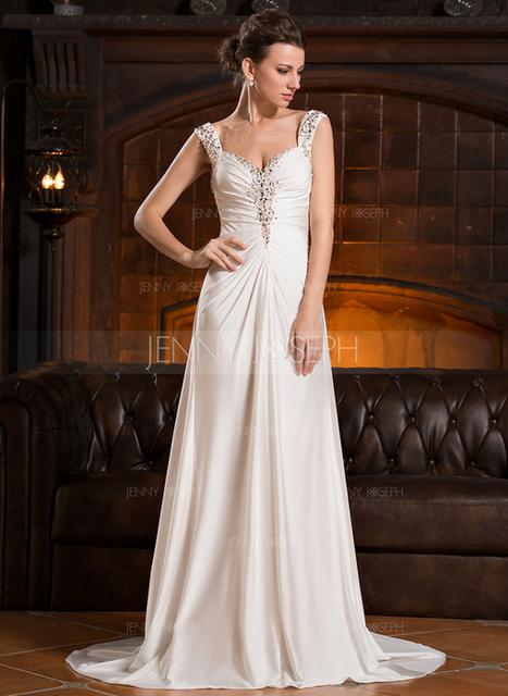 [€ 116.38] A-Line/Principessa A cuore Sweep/Spazzola treno Jersey Abito da sera con Increspature Perline Paillettes (017056125)   wedding dress   Scoop.it