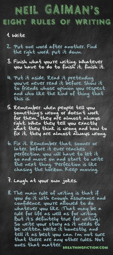 A Nice Graphic Featuring Gaiman's Eight Rules of Writing ~ Educational Technology and Mobile Learning | Education & Homeschooling | Scoop.it