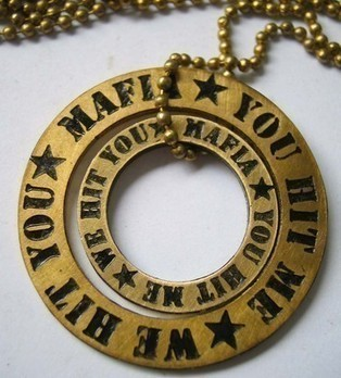 Brass Pendant You Hit Me We Hit You by MAFIA Jewellery | I don't do fashion, I am fashion | Scoop.it