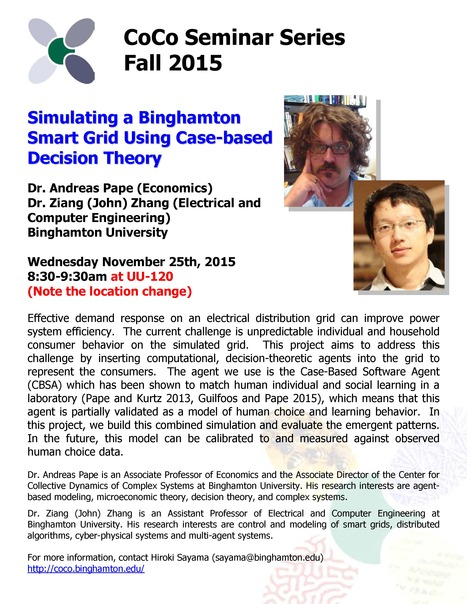 Next CoCo Seminar by Andreas Pape and Ziang (John) Zhang on Wed. Nov. 25th | Center for Collective Dynamics of Complex Systems (CoCo) | Scoop.it
