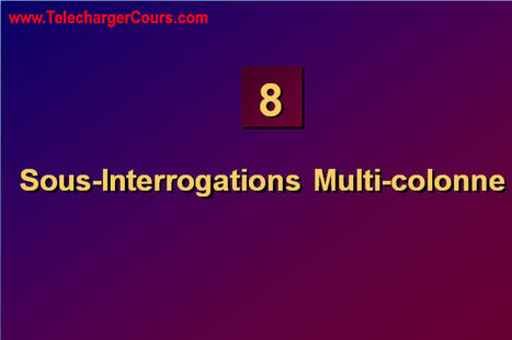 Sous-Interrogations Multi-colonne | SQL Oracle | Cours Informatique | Scoop.it