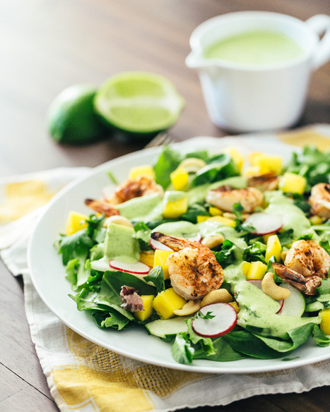 Tropical Mango Salad with Cilantro Lime Dressing + Grilled Shrimp | a Couple Cooks | À Catanada na Cozinha Magazine | Scoop.it