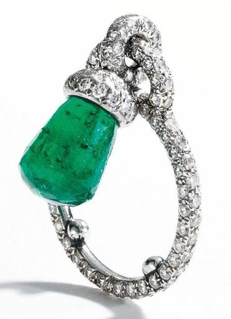 Platinum, Briolette Emerald and Diamond Ring, JAR, Paris   FanPhobia - Celebrities Database   Tattos and Jewelry   Scoop.it
