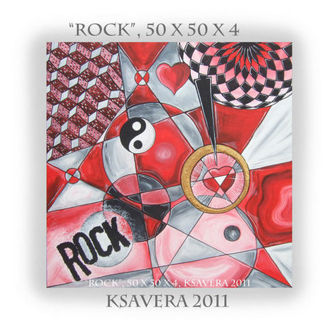 """Original Abstract Painting Contemporary Wall Art Cubism KSAVERA """"Rock"""" 20x20x1,6 Huge textured paintings on canvas Acrylic New for Office 