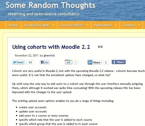 Using cohorts with Moodle 2.2 | MoodleUK | Scoop.it