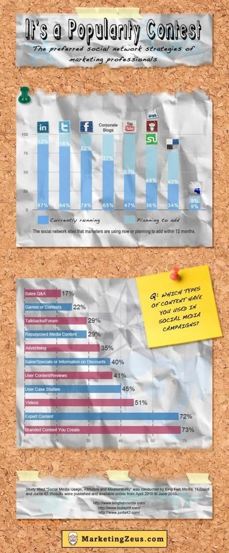 [Infographie] Les réseaux sociaux préférés des marketeux | Websourcing.fr | Social Media Curation par Mon Habitat Web | Scoop.it