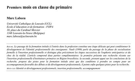 e-299 : Education & Formation - Les enseignants débutants s'expriment. Une recherche de Marc Labeeu (FOPA) | Revue Education & Formation | Scoop.it