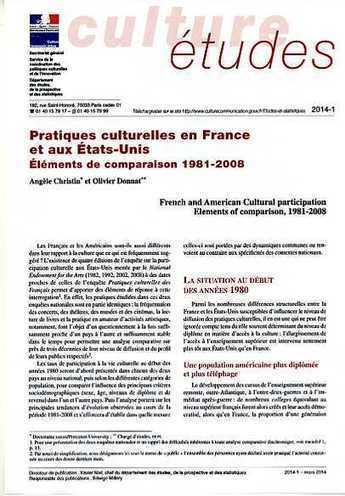 Pratiques culturelles en France et aux États-Unis. Éléments de comparaison 1981-2008 [CE-2014-1] | Scientific heritage | Scoop.it