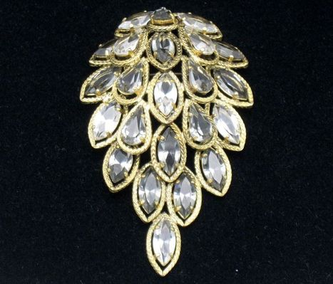 "Rare CHRISTIAN DIOR Dated 1962  Large 4""  Rhinestone Brooch 