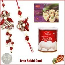 Bhaiya Bhabhi Rakhi pair with Haldiram Rasgulla and Mega Soan Papadi - Send Rakhi to Canada   Rakhi Gifts to India, USA, UK, Canada, Australia   Scoop.it